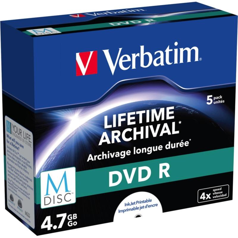 Verbatim MDisc Lifetime Archival 4.7GB Capacity Printable DVD-R DVDR Blank Media Recordable Disc 6x Discs Jewel Case 5PC