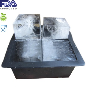 Black BPA Free Flexible Silicone 4 Square Ice Cube Tray Maker Mold- Makes 2 Inch Cubes - Comes With a White Lid - intl