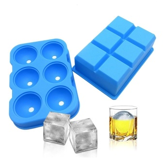 leegoal Ice Cube Trays Silicone Set Of 3, Sphere Round Ice BallMaker Large Square Ice Cube Mold For Chilling Bourbon Whiskey,Cocktail, Beverages And More - intl