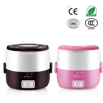 Newest 2 in 1 Portable Lunch Box Electric Rice Cooker MultifunctionMini Rice Cooker (1.2L) - Brown - intl