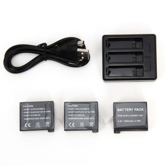 3pcs Batteries + 3 Channel Chargers Set for GoPro HERO4 GoProAHDBT-401 - intl