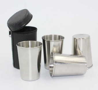 4pcs 70ml Stainless Steel Beer wine Cup Mug Camping Cup by LuckyG -intl