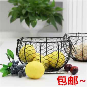 Black egg basket living room iron ed basket fruit basket