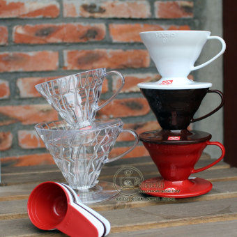 Hario V60/vd-01/vd-02 coffee transparent resin red cup filter cup