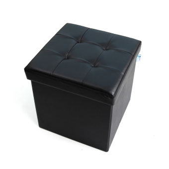 Leather can be folding square Pu storage stool changing his shoes stool