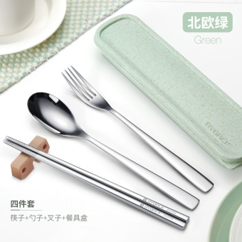 Portable 304 stainless steel chopsticks & spoon & fork set