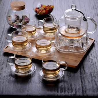 Tea teapot suit Transparent Heat-resistant glass whole sets teafour one heating bubble water fruit herbal tea