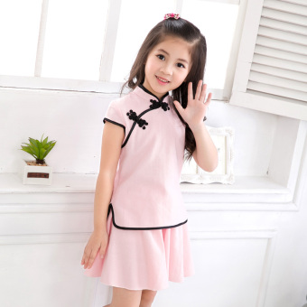 2017 New style girls costume suit Summer Small girl children'scotton Chinese cheongsam dress performance clothing