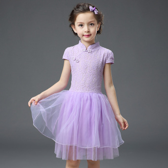 Cheongsam dress girls 2017 summer New style Cool NationalChildren's lace Tutu dress princess dress