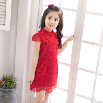 Kindergarten baby dress skirt girls spring and summer national wind lace dress Dress child short-sleeved red princess dress