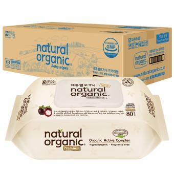 Natural Organic Baby Premium Wipes with CAP (80 sheets x 10 packs)