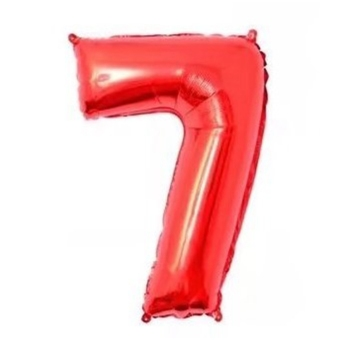 Red aluminum with numbers balloon
