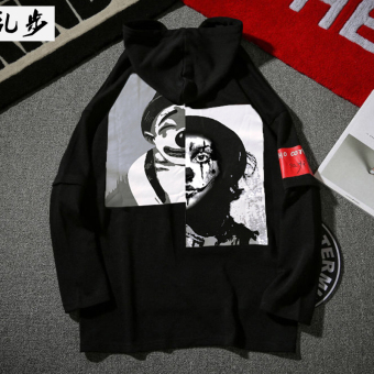 Autumn clown printed fake two-piece hoodie (9610 hooded hoodie black)
