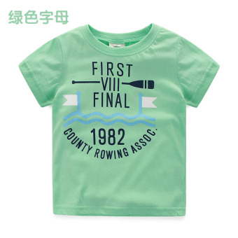 Baby tx-6703 Navy style New style children's base shirt T-shirt (Green letters) (Green letters)
