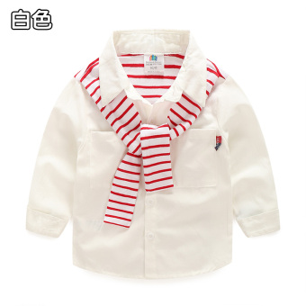 Baobao tx-6437 Navy style New style children's striped shirt (White)
