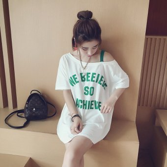 Beishihan Women's Loose Letter Off Shoulder Short Sleeve Mid Length T-Shirt - White (White)