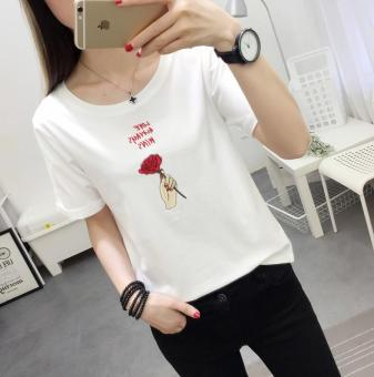 BF Korean-style New style student style T-shirt shirt T-shirt (1711 white)