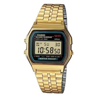 Casio Digital Women's Gold Stainless Steel Strap Watch A159WGEA-1D