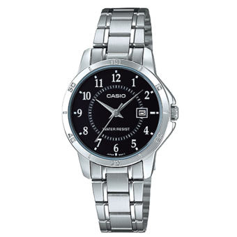 Casio Ladies' Analog Stainless Steel Strap Watch LTPV004D-1B