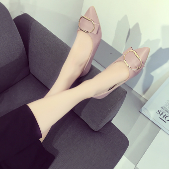 Casual female foot covering shoes New style flat shoes (Pink)