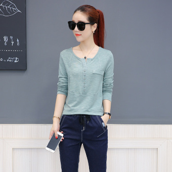 Casual long-sleeved blood New style T-shirt (Green)