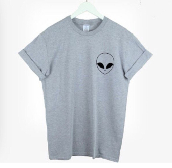Casual slim fit alien-print round-neck cotton short-sleeve t-shirt