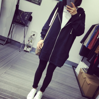 College style early spring new loose hooded hoodie (Black)