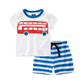Cotton baby summer New style boys pants Korean-style T-shirt (9700Awhite/color blue)