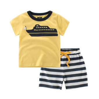 Cotton baby summer New style boys pants Korean-style T-shirt (9700Dlight yellow/dark gray collar)