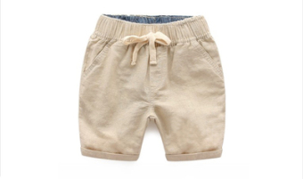 Cotton boy's Capri pants children's shorts (Khaki hanni Five Points pants)