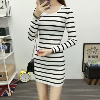 Cotton Slim fit round neck bottoming shirt T-shirt (Stripe 1-2)