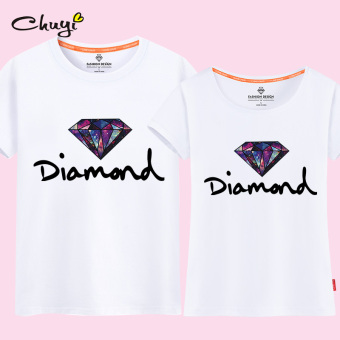 Couple's Short sleeve New style T-shirt (Pearl white (diamond)) (Pearl white (diamond))