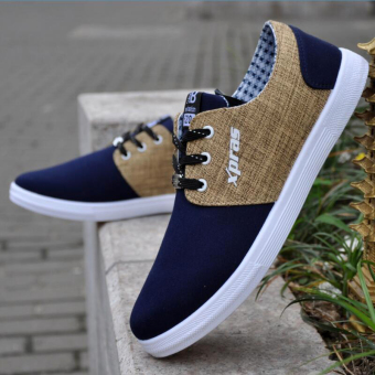 England autumn New style lace to help low canvas shoes men shoes(Ouma 42 + Blue)