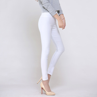 Female Summer ultra-stretch candy color pants leggings (White) (White)