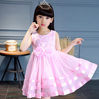 Girls cotton dress Korean-style summer New style princess dress large children birthday show flowers baby children's clothing (Pink color)