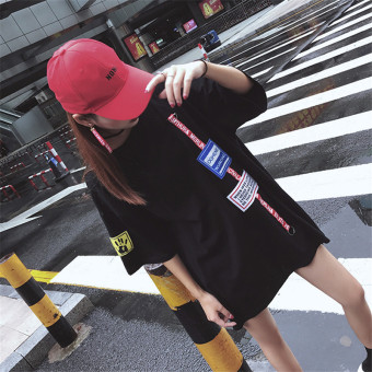 Harajuku female New style Print letters dress T-shirt (DY 053 black)