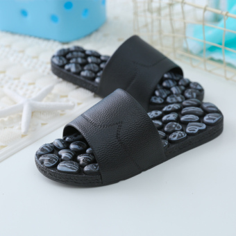 Health imitation goose egg stone massage slippers foot massage shoes (Black)