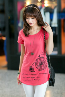 In the long section loose package hip cotton short-sleeved shirtbottoming T-shirt (Red bicycle) (Red bicycle)