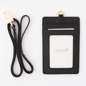Korea FROMb bus lanyard card sets cute leather documents card sets work card access badges transparent card holder (Black [spot])
