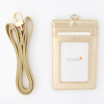 Korea FROMb bus lanyard card sets cute leather documents card sets work card access badges transparent card holder (Gold [spot])