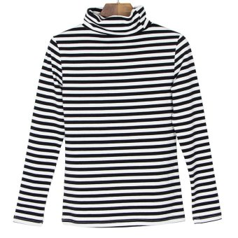 Korean-style cotton black women base shirt striped long-sleeved t-shirt (Black and white stripes 1*1) (Black and white stripes 1*1)