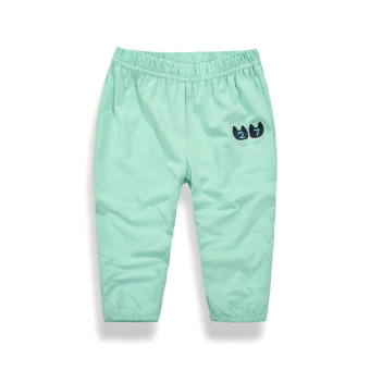 Korean-style cotton girls summer boy's sports pants baby pants (5013 light green)