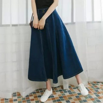Korean-style cowboy word pleated skirt (Light blue (good quality))