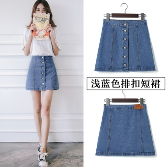 Korean-style female New style Slimming effect short skirt denim skirt (Light blue-breasted)