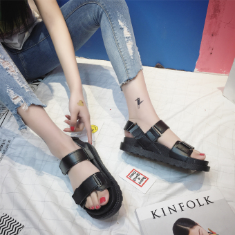 Korean-style flat muffin magic stickers thick bottomed sandals (Black)