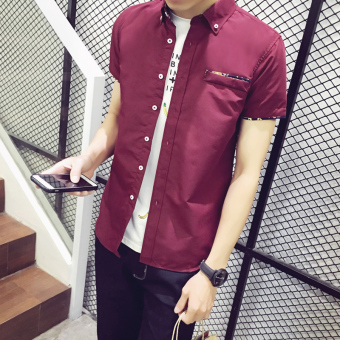 Korean-style men's short sleeve student Teenager white shirt (Wine red color [DS02])