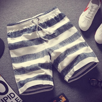 Korean-style Slim fit thin models beach pants striped shorts (Dark blue color)