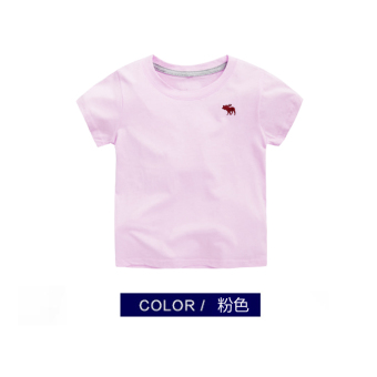 Korean-style solid New style children's base shirt T-shirt (Pink)