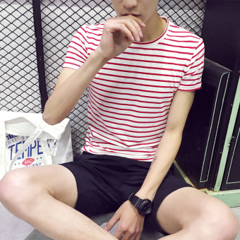 Korean-style Teenager Short sleeve student bottoming shirt T-shirt(T505-red)