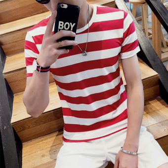 Korean-style Teenager Short sleeve student bottoming shirt T-shirt(T524--red stripe)